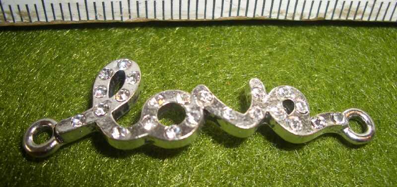 Zwischenteil 'Love' handwriting - Strass - 40x12mm