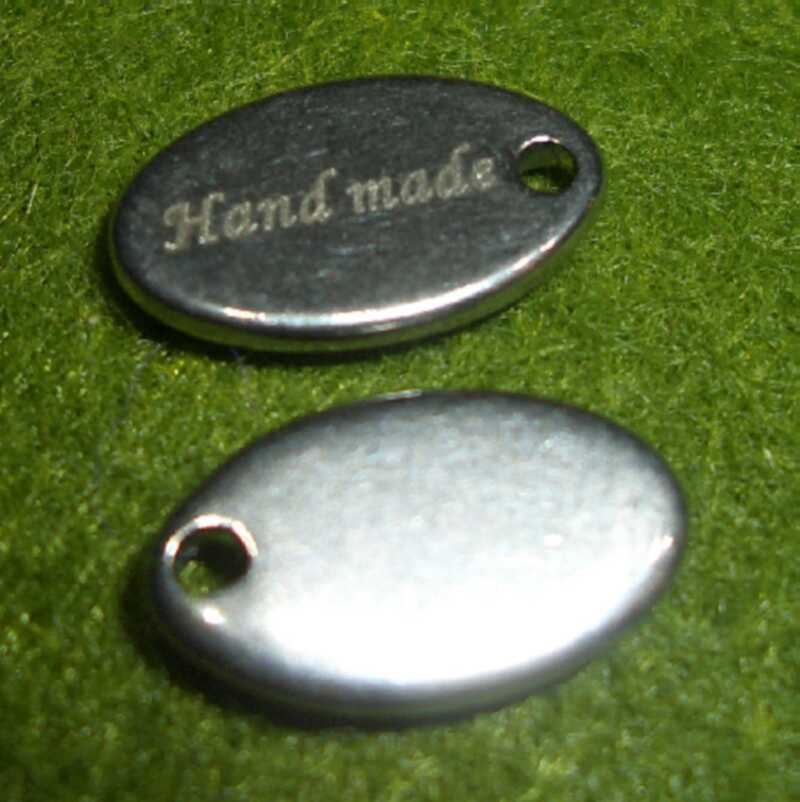 Label 'Hand made in Germany' - Edelstahl - 12x7mm
