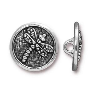 TierraCast - Button 'Dragonfly' - silber - 17mm